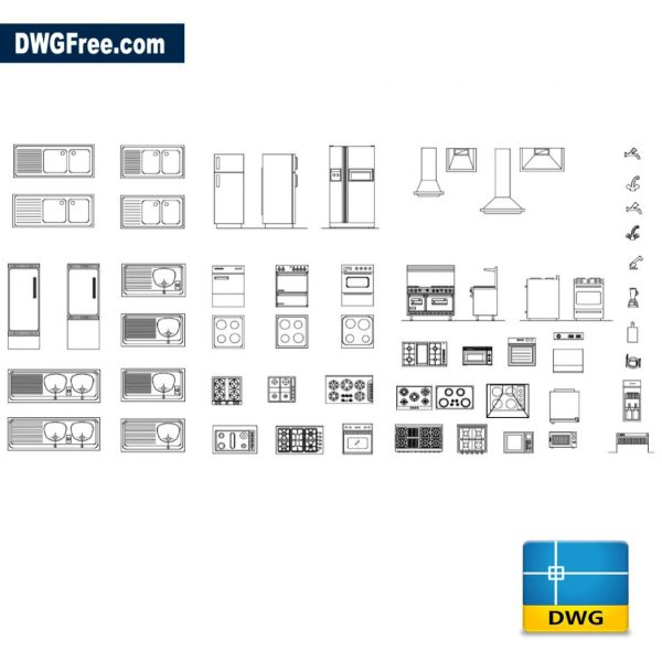 Blocks artifacts for kitchen dwg CAD