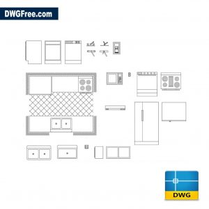 Free Kitchens furniture cad dwg for Autocad