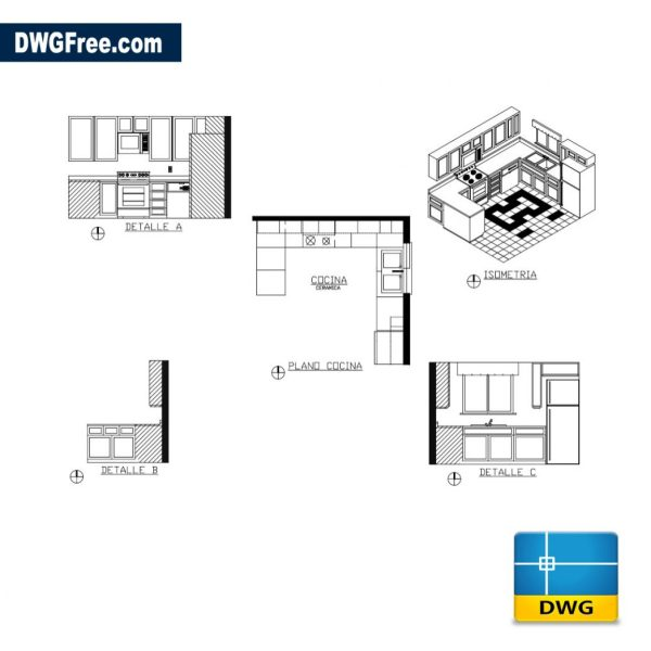 Free Project kitchen cad dwg for Autocad