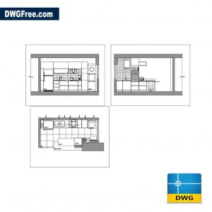 Free Small kitchen dwg for Autocad