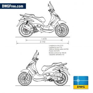 Piaggio Beverly dwg cad blocks