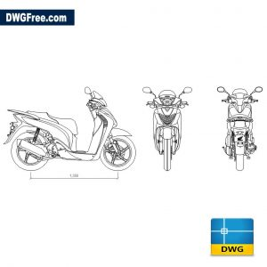 Scooter Honda SH 150 i dwg cad blocks