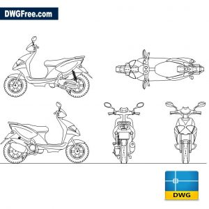 Yamaha 50 ccm Roller dwg in Autocad