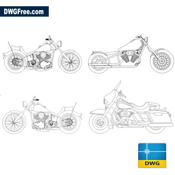 moto harley dwg cad blocks