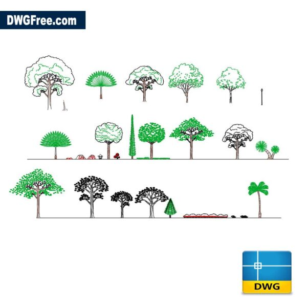 All tree figures dwg Drawing