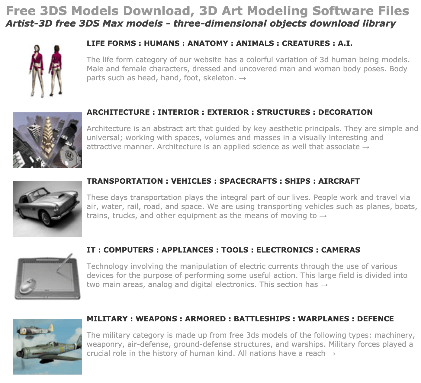 Artist-3D free 3DS Max models