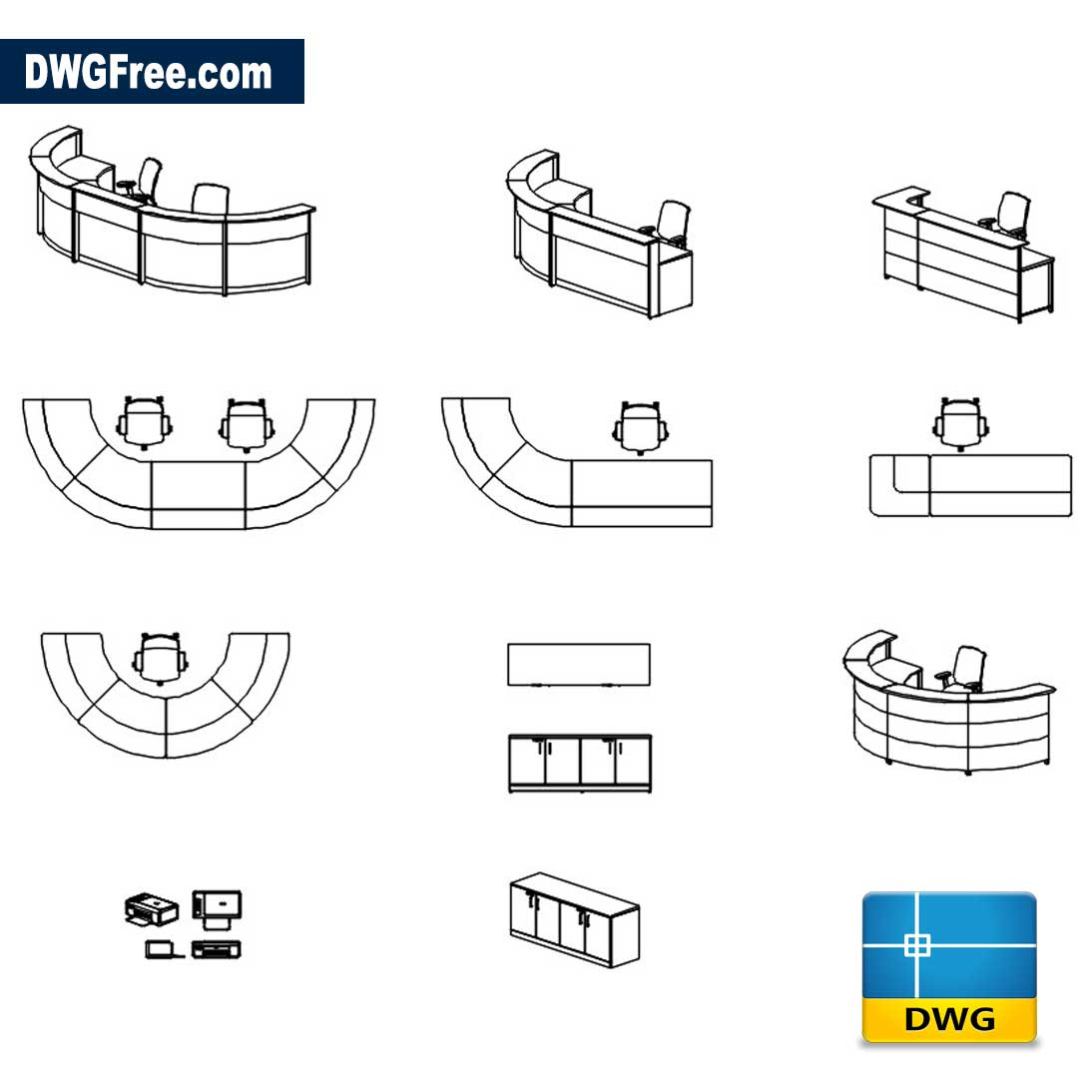 Picture of: Reception Desk Cad Block Dwg Drawing Download In Autocad