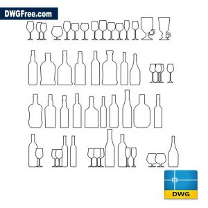 Wine Bottle CAD Block drawing in Autocad