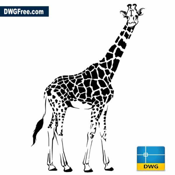2D Female Giraffe drawing vector dwg