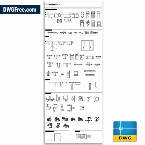 Fitness equipment 2d Drawing DWG