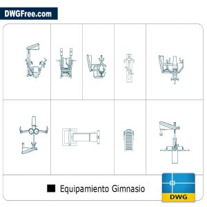Gym equipment views DWG CAD