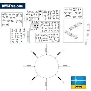 Pipe fittings equipment drawing in Autocad dwg