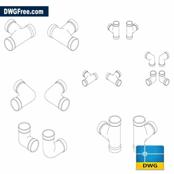 Pipe fittings isometric Drawing in Autocad
