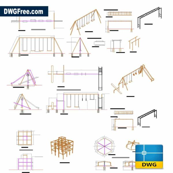 Playgrounds equipment DWG in Autocad
