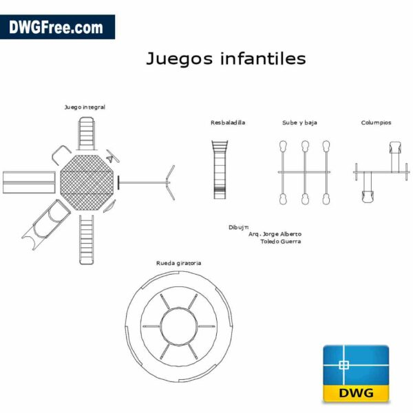 Playgrounds equipment top views Drawing in Autocad