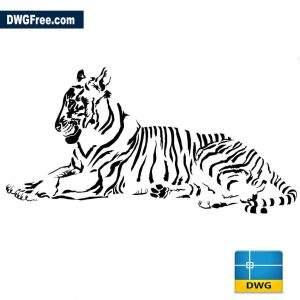 Tiger Lying 2D drawing vector in Autocad