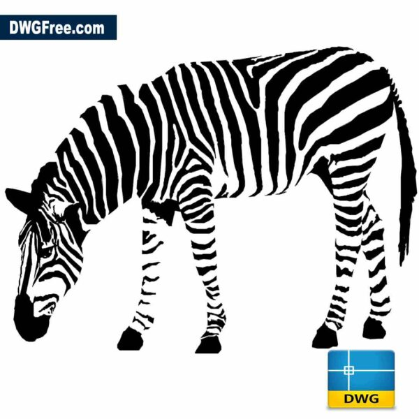 Zebra grazing 2D drawing in Autocad