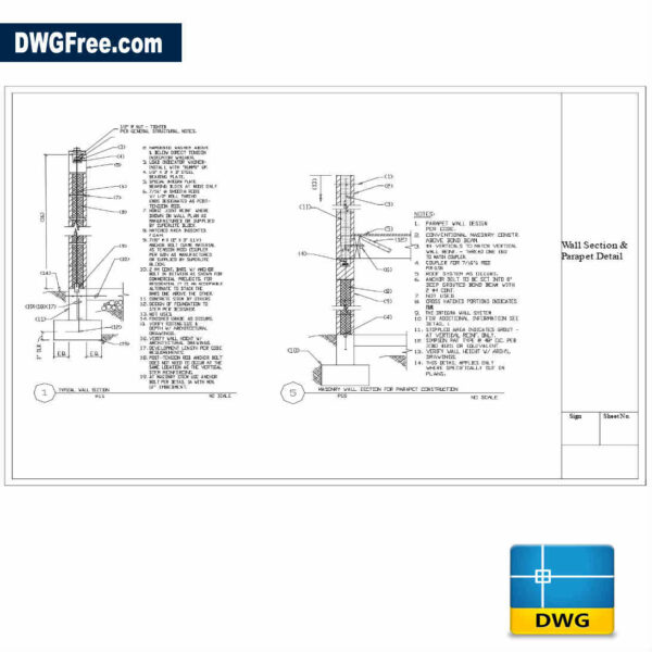 typical wall section dwg drawings