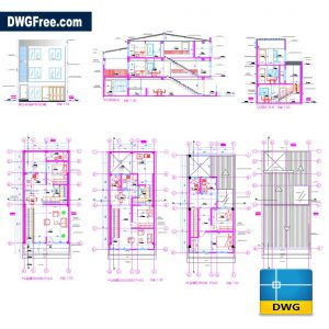 3-Floor Bifamiliar Housing DWG DRAWING IN AUTOCAD