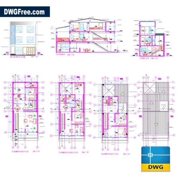 3-Floor Bifamiliar Housing DWG DRAWING IN AUTOCAD