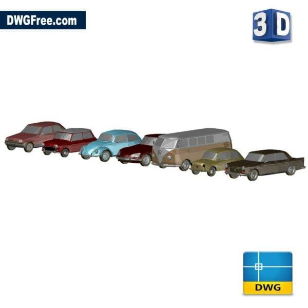 3d classic cars dwg drawing