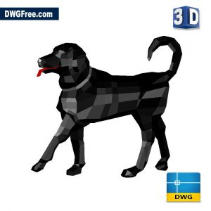 3D Dog DWG in AutoCAD