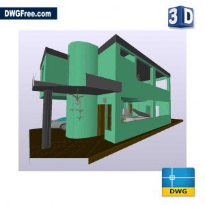 3D House DWG in AutoCAD