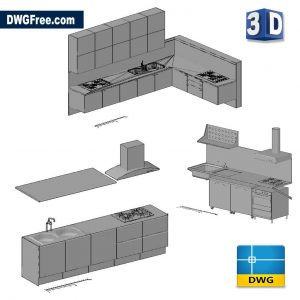 3D Kitchen DWG in AutoCAD drawing