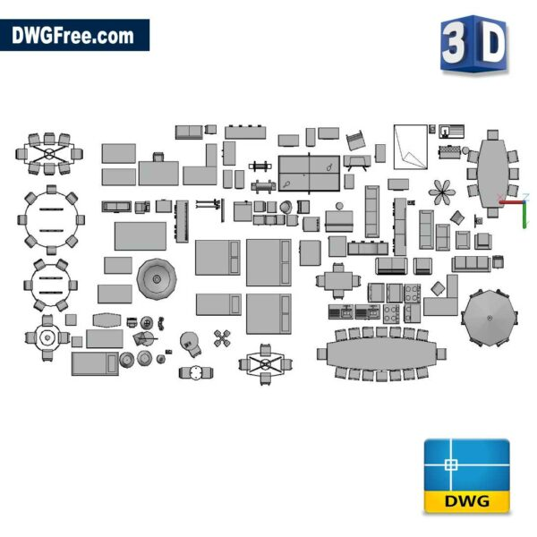 3D Office Furniture DWG in AutoCAD Blocks