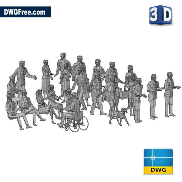 3D People DWG in AutoCAD