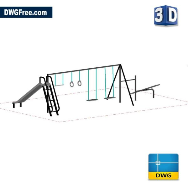 3D Playgrounds Equipment DWG in AutoCAD