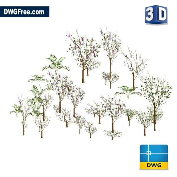3D Trees DWG in AutoCAD