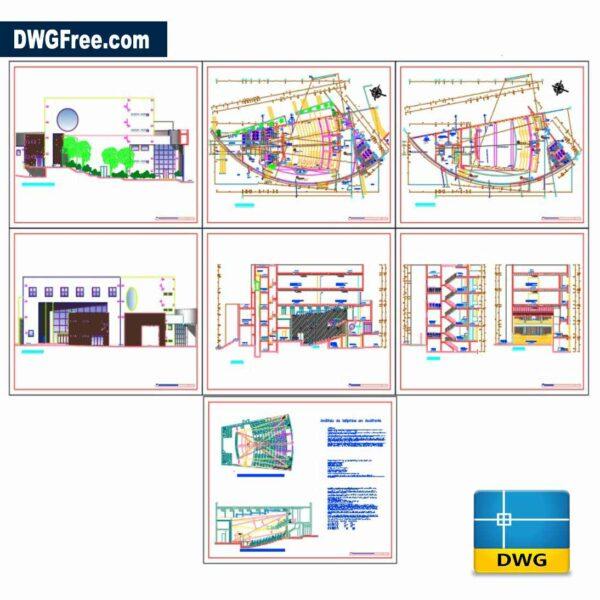 AUDITORIUM HALL FACADE SECTION DWG CAD BLOCKS