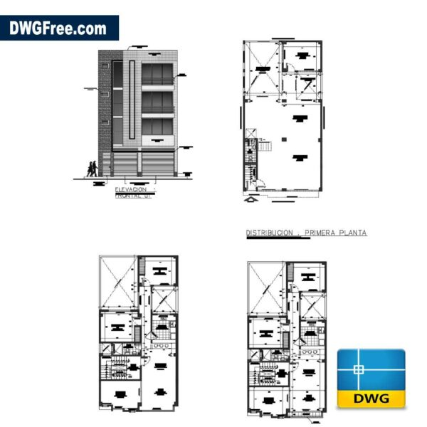 Architectural plans of a two-family house dwg cad