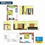 Bedroom interior design detail dwg in Autocad