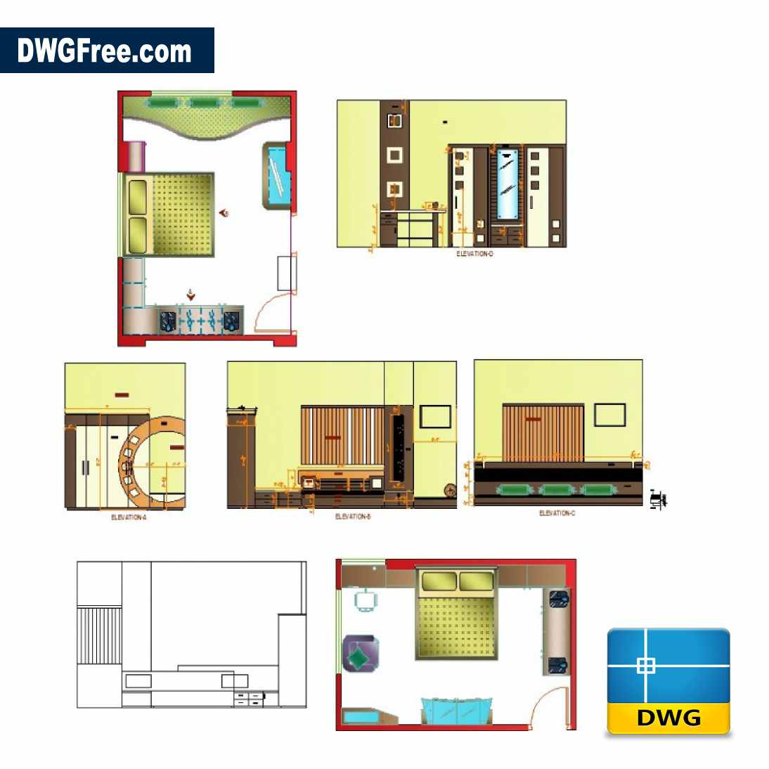 Bedroom interior design detail DWG [Drawing 14 ]  DwgFree.