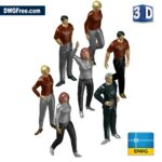Blocks of persons in 3d dwg drawing CAD