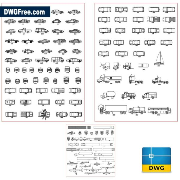 Cars Blocks DWG drawing in AutoCad