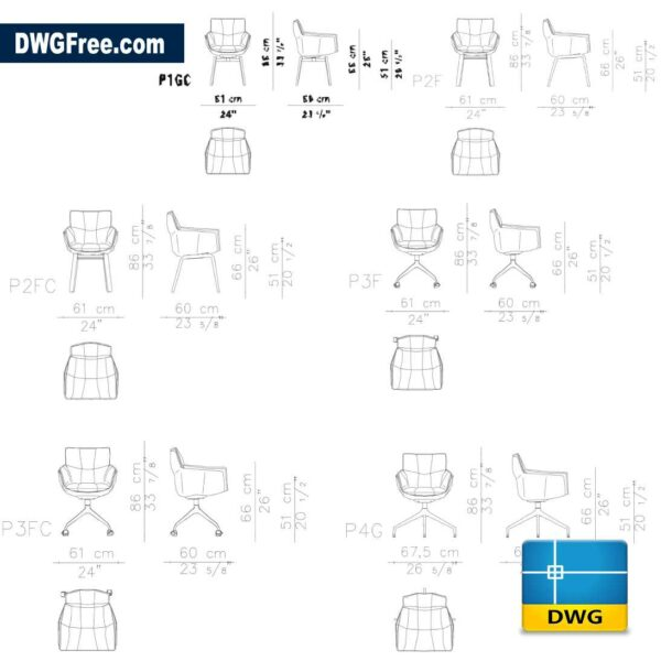 Chairs Husk DWG in AutoCAD 2D