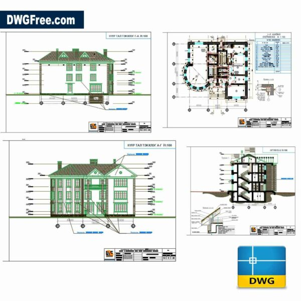 Design of house drawing dwg in Autocad 2D