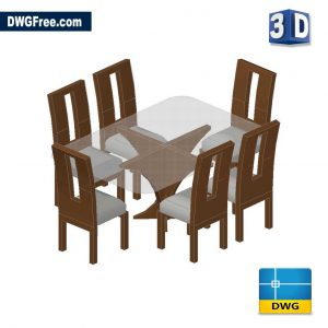 Dining Set 3D DWG in AutoCAD