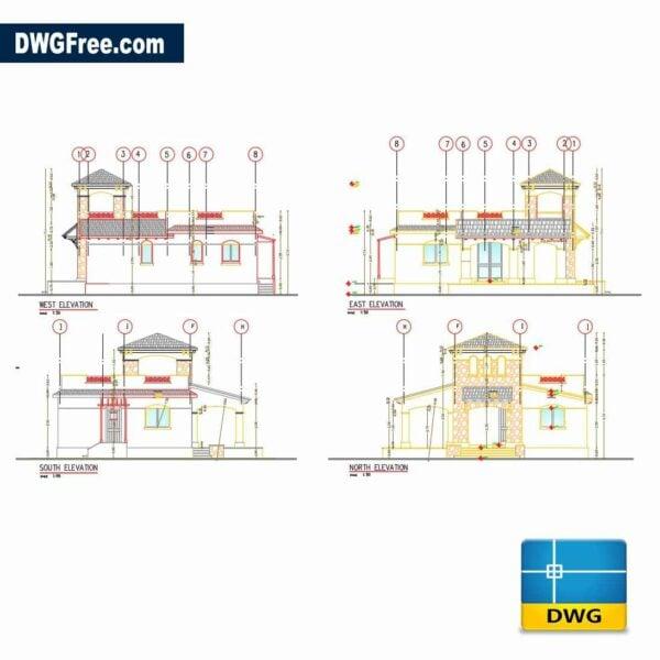 Elevation design of small villa design dwg