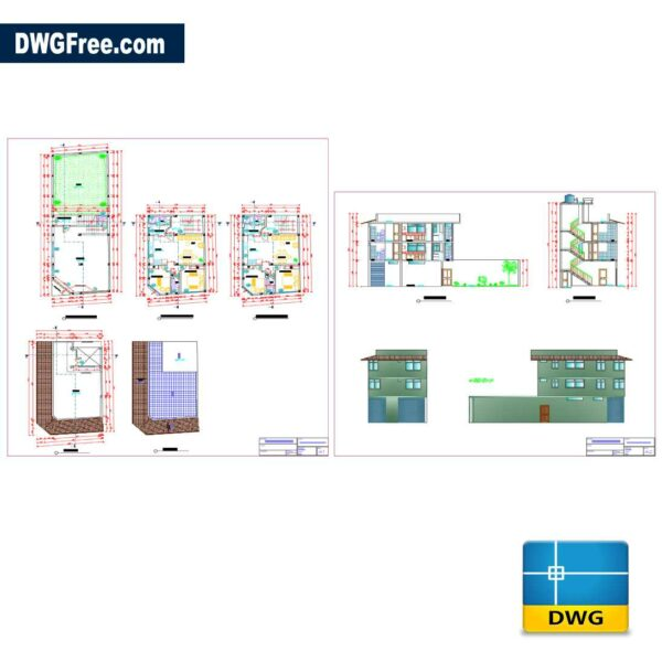 Family House 3 Levels Dwg in AutoCAD