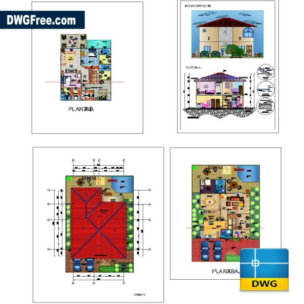 Family house two floors dwg drawing