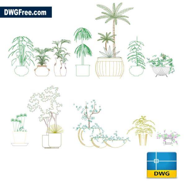 Flowerpots DWG Drawing 2D in CAD