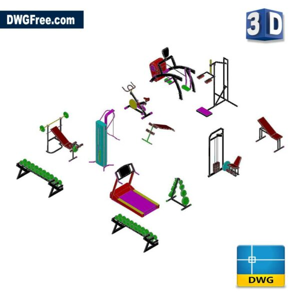 Gym Equipment 3D DWG in AutoCAD