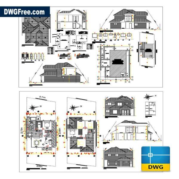 House 2 floors 400 m2 dwg drawing