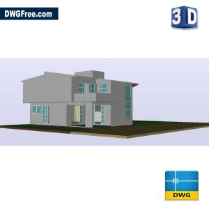 House Double Height 3D DWG Drawing