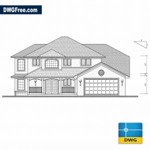 Housing bungalow 2D Dwg in Autocad