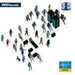 Human Figures 3D DWG in AutoCAD